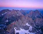 Twilight wedge over the Needle Mountains from the summit of Sunlight Peak at sunrise, Weminuche Wilderness, Colorado