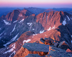Jupiter Mountain and Grizzly Peak from the summit of Windom Peak at sunrise, Weminuche Wilderness, Colorado.