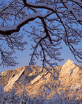 The Flatirons after a fall snowstorm, Boulder Mountain Parks, Boulder, Colorado