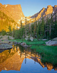 Hallett Peak reflected in Dream Lake at sunrise, Rocky Mountain National Park, Colorado