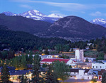 Longs Peak rises over Estes Park at twilight, Colorado