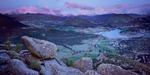 Sunrise over Rocky Mountain National Park and the Estes Park valley, Colorado