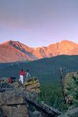 Cora Randall photographing sunrise on Longs Peak, Rocky Mountain National Park, Colorado