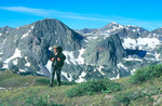 Robert Himber backpacking on the Continental Divide Trail above Flint Creek, Weminuche Wilderness, Colorado