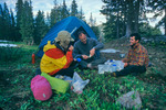 Glenn Randall, Robert Himber, Greg Chenu in camp above Squaw Pass, Continental Divide Trail, Weminuche Wilderness, Colorado