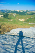 Glenn Randall's shadow as he backpacks on the Continental Divide Trail near Peak 12,956, Weminuche Wilderness, Colorado
