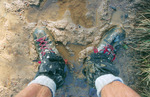 Muddy boots along the Continental Divide Trail, Weminuche Wilderness, Colorado