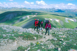 Father Bob Einterz and sons Zach and Seth backpacking on the Continental Divide Trail above Kite Lake, Weminuche Wilderness, CO