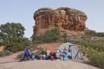 Glenn, Cora, Emily and Audrey Randall in camp in Elephant Canyon, Needles District, Canyonlands National Park, Utah