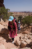 Emily, Audrey and Cora Randall on the Chesler Park loop trail, Needles District, Canyonlands National Park, Utah