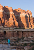 Audrey Randall watching sunset over Elephant Canyon, Needles District, Canyonlands National Park, Utah