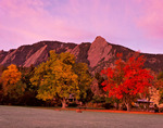 Autumn sunrise and the Flatirons from Chautauqua Park, Boulder, Colorado