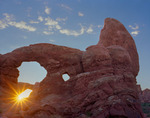 South Window through Turret Arch at sunrise, Windows area, Arches National Park, Utah