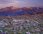 Longs Peak and Glacier Gorge from Timberline Pass at sunset, along the Ute Trail, Rocky Mountain National Park, Colorado