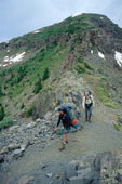 Greg Chenu and Robert Himber on the Knife Edge, Continental Divide Trail, Weminuche Wilderness, Colorado