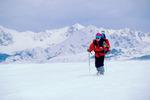 Cora Randall snowshoeing on Shrine Ridge, near Vail Pass, Colorado