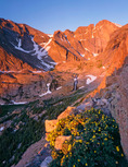 Mt. Meeker, Longs Peak and cinquefoil at sunrise, Rocky Mountain National Park, Colorado