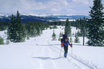 Cora Randall skiing toward the Tenth Mountain Division Hut, Tenth Mountain Division hut system, Colorado