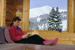 Cora Randall relaxing at the Tenth Mountain Division Hut, Tenth Mountain Division hut system, Colorado