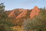 The Flatirons from Chautauqua in spring, Boulder Mountain Parks, near Boulder, Colorado