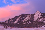 The Flatirons at sunrise in winter, Chautauqua Park, Boulder Mountain Parks, near Boulder, Colorado