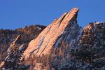 The Third Flatiron at sunrise in winter, Boulder Mountain Parks, near Boulder, Colorado