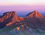 Coxcomb Peak and Redcliff from the summit of Uncompahgre Peak at sunrise, Uncompahgre Wilderness, Uncompahgre National Forest, Colorado
