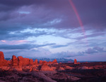 Rainbow over the Windows area at sunset, Arches National Park, Utah