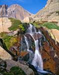 Longs Peak and Columbine Falls, Rocky Mountain National Park, Colorado.