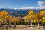 Longs Peak, the Continental Divide and aspen along the trail to Deer Mountain, Rocky Mountain National Park, Colorado