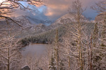 Longs Peak and Glacier Gorge from Bear Lake after an early fall snowstorm, Rocky Mountain National Park, Colorado