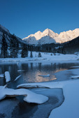 The Maroon Bells from Maroon Lake at sunrise, Maroon Bells-Snowmass Wilderness, Colorado