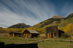 The ghost town of Ashcroft by the light of the full moon, near Aspen, Colorado
