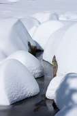 Snow-covered boulders at Dream Lake after a 44-inch snowfall on April 19, 2009, Rocky Mountain National Park, Colorado