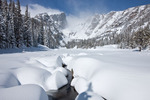 Hallett Peak from Dream Lake after a 44-inch snowfall on April 19, 2009, Rocky Mountain National Park, Colorado