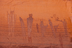 The Harvest Scene, a 2000-year-old Late Archaic style pictograph panel in The Maze, Maze District, Canyonlands National Park, Utah