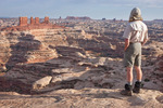 Glenn Randall looks out over the Maze from Brimhall Point, Maze District, Canyonlands National Park, Utah