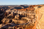 Brimhall Point, the Chocolate Drops, the Maze and the Land of Standing Rocks at sunrise, Maze District, Canyonlands National Park, Utah