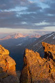 Longs Peak and Glacier Gorge at sunset from the Rock Cut viewpoint on Trail Ridge Road, Rocky Mountain National Park, Colorado