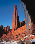 January icicles and the Titan, Fisher Towers, near Moab, Utah