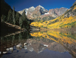 The Maroon Bells reflected in Maroon Lake in late September, Maroon Bells-Snowmass Wilderness, Colorado