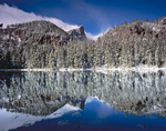 Hallett Peak reflected in Nymph Lake after a fall snowstorm, Rocky Mountain National Park, Colorado