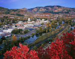 Steamboat Springs, the Yampa River and Mt. Werner in autumn, Colorado