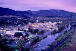Steamboat Springs, the Yampa River and Mt. Werner in summer, Colorado
