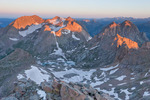 Sunrise from the summit of Windom Peak, Weminuche Wilderness, Colorado.  From left to right, Mt. Eolus, North Eolus, Monitor Peak and Peak 13.
