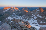 Sunrise from the summit of Windom Peak, Weminuche Wilderness, Colorado.  From left to right, Mt. Eolus, North Eolus, Monitor Peak, Peak 13 and Sunlight Peak.
