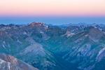 Handies Peak at sunrise from the summit of 14,034-foot Redcloud Peak, Redcloud Peak Wilderness Study Area, near Lake City, Colorado.