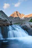 Mount of the Holy Cross and waterfall on East Cross Creek, Holy Cross Wilderness, Colorado