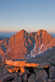 Crestone Needle and Crestone Peak at sunrise from the summit ridge of 14,064-foot Humboldt Peak, Sangre de Cristo Wilderness, Colorado