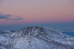 Twilight wedge over Quandary Peak from the 14,148-foot summit of Mt. Democrat at sunset, Mosquito Range, Colorado